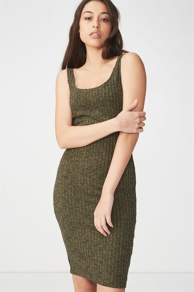 Kimi Scooped Bodycon Midi Dress, SOFT KHAKI/BLACK RIB TWIST