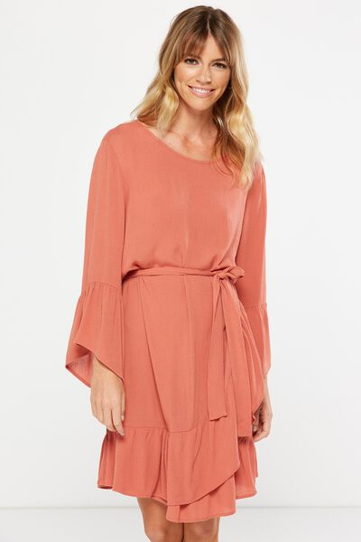 Woven Monique Long Sleeve Dress, BURNT SIENNA