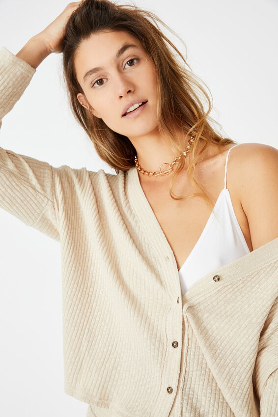 Gigi Long Sleeve Cardigan, LATTE
