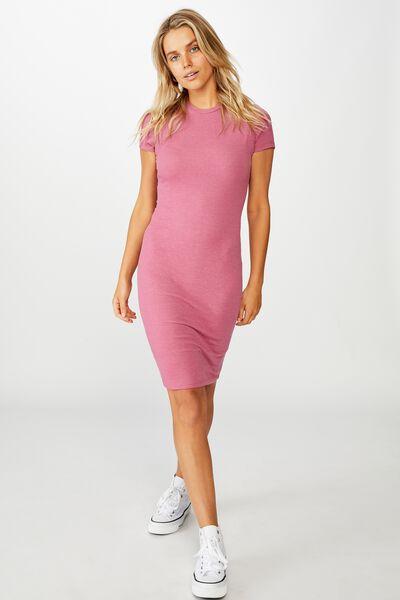 Essential Short Sleeve Bodycon Midi Dress, MALAGA MARLE RIB