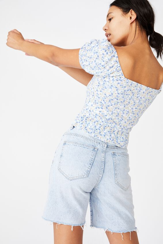 Lotti Short Sleeve Peplum Top, LAURIE FLORAL COOL BLUE