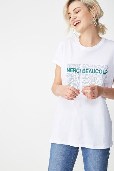 Tbar Fox Graphic T Shirt, MERCI BEAUCOUP/WHITE