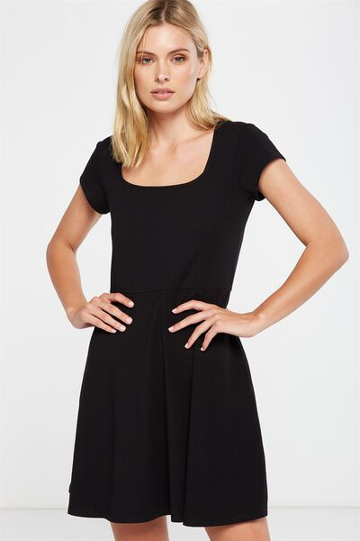 Winona Scoop Neck Fit And Flare Dress, BLACK