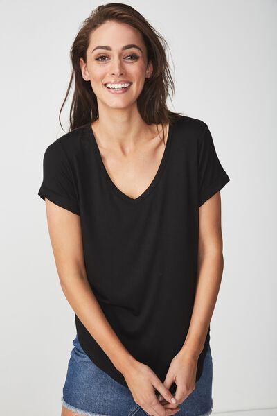 Karly Short Sleeve V Neck Top, BLACK 2