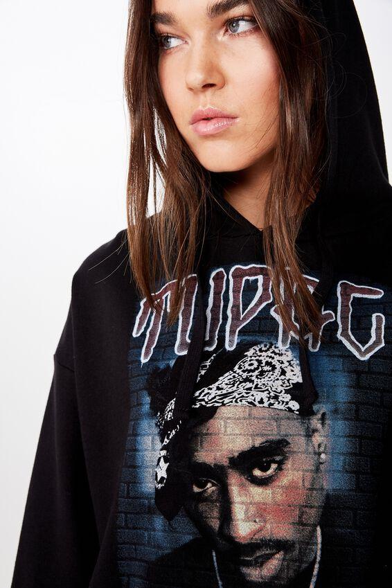Mila Graphic Chopped Hoodie, LCN BR TUPAC GRAFFITI PORTRAIT/BLACK