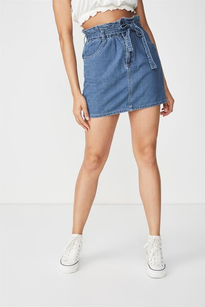 Paperbag Denim Skirt, CLEAN BLUE