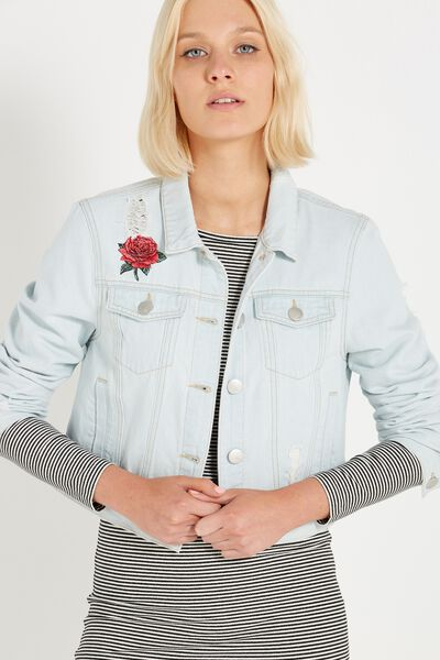 Girlfriend Embroidered Denim Jacket, LIGHT ROSE EMBROIDERY