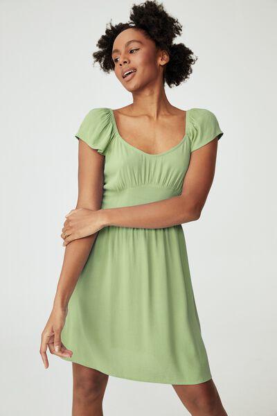 Woven Petite Naomi Shirred Back Tea Dres, DUSTY MINT