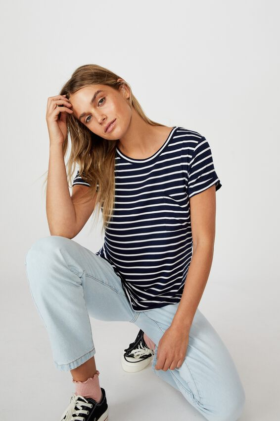 Kathleen Short Sleeve Top, COLE STRIPE MIDNIGHT NAVY/WHITE