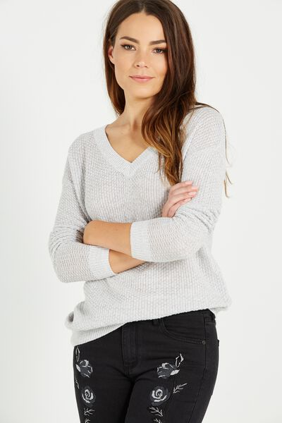 Lily V Neck Open Stitch Pullover, GREYS TWIST