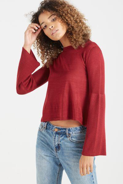 Flora Flare Sleeve Light Pullover, ROSE BUD