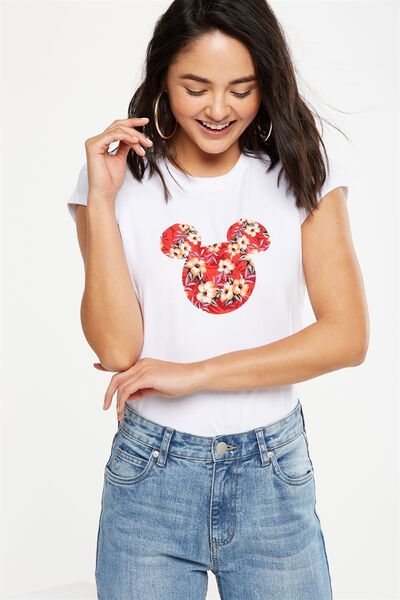 Tbar Friends Graphic Tee, LCN MICKEY ILANA FLORAL FLAME/WHITE