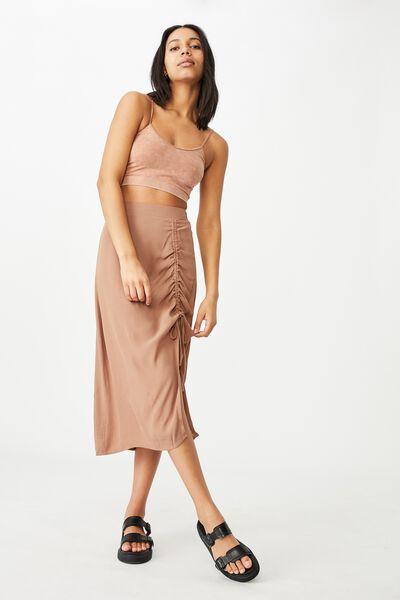 Leah Ruched Side Midi Skirt, HERITAGE BROWN