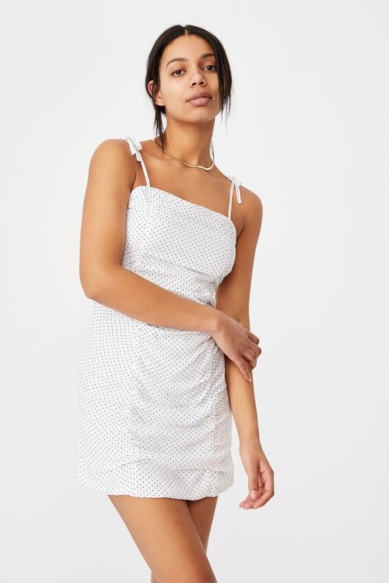 Woven Holly Ruched Strappy Mini Dress, TIFFANY SPOT WHITE
