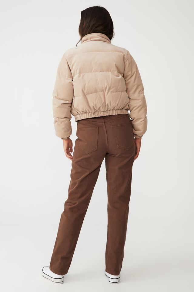 Cord Padded Jacket, LATTE