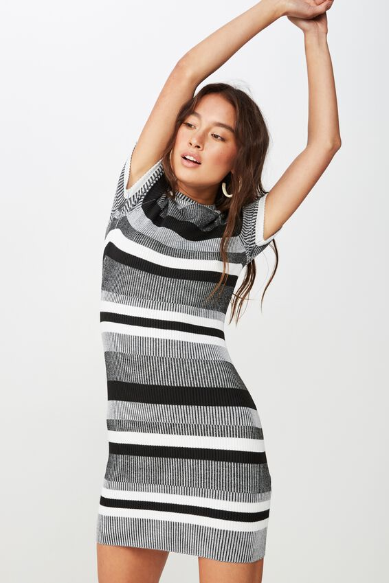 Lottie True Knit Mini Dress, MIA MULTI STRIPE CHARCOAL