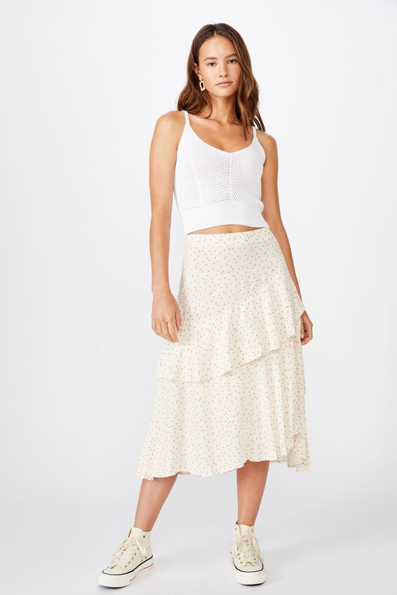 Eve Frill Midi Skirt, DAISY SPOT CANYON ROSE