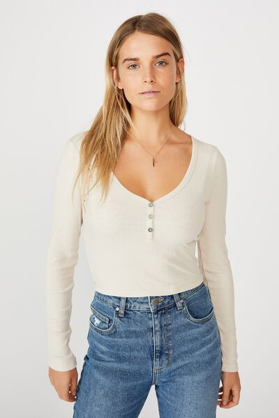 Lincoln Henley Long Sleeve Top, SOFT SAND