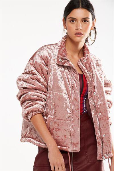 Velvet Puffer Jacket, WITHERING ROSE