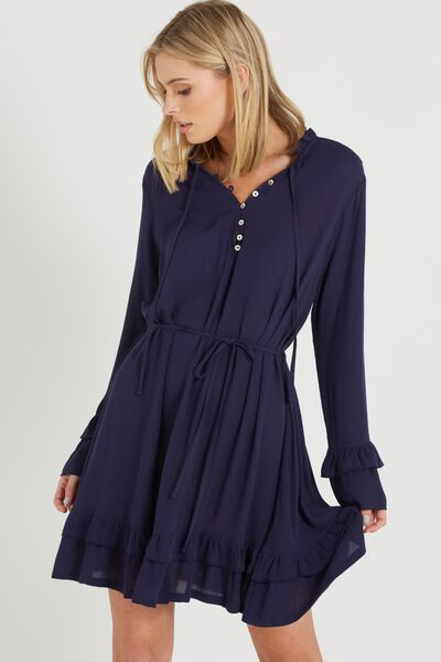Woven Montana Drop Peplum Dress, MIDNIGHT OCEAN