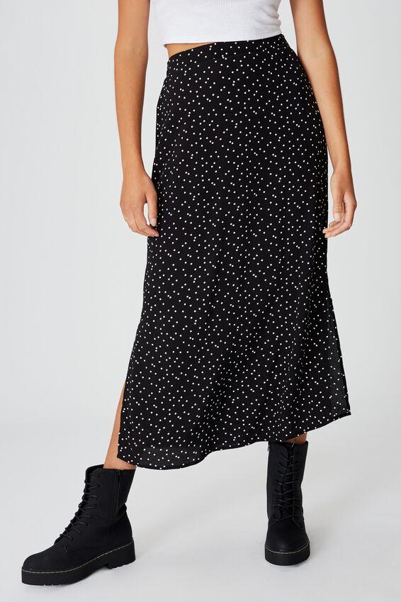 90S Slip Skirt, DAISY SPOT BLACK