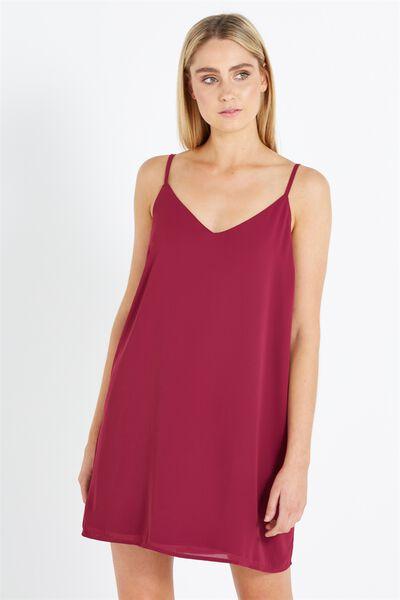 Woven Margot Slip Dress, DARK PLUM