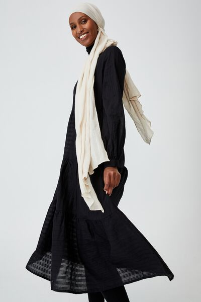 Woven Rebeka Tiered Maxi Dress, BLACK