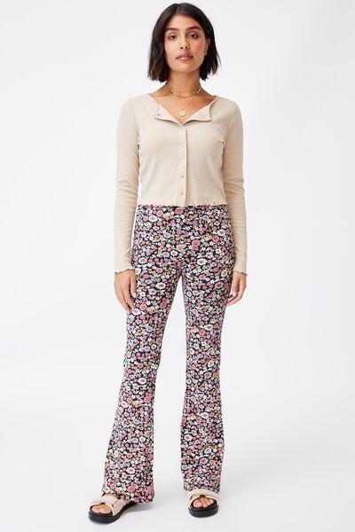 Leni Flare Jersey Pant, JESSICA FLORAL BLACK