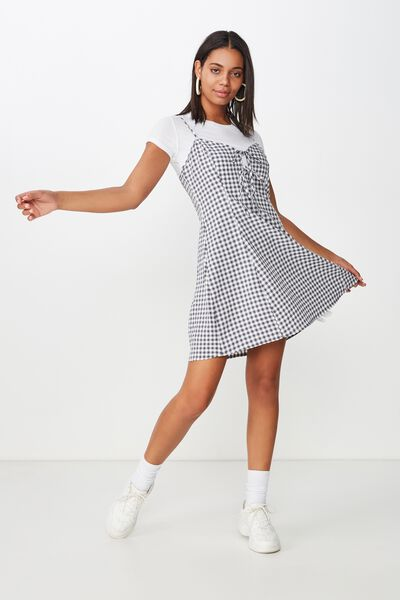 Woven Agnes Tie Front Mini Dress, ABBY GINGHAM NAVY