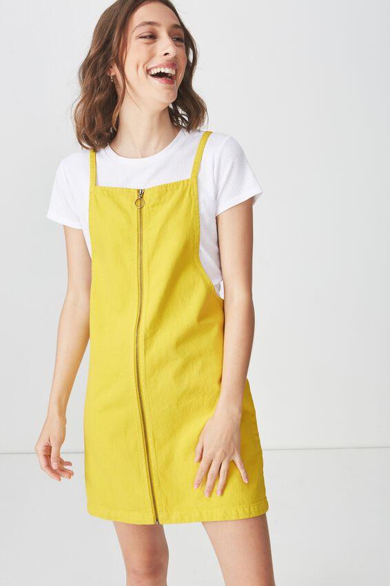 Faith Denim Pinafore Mini Dress, ANTIQUE MOSS