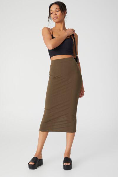 Essential Midi Skirt, DUSTY OLIVE