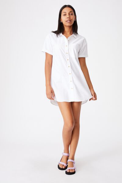 Woven Lola Button Shirt Dress, WHITE