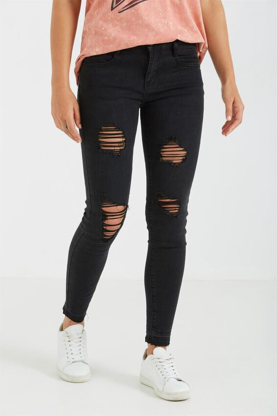 Mid Rise Grazer Skinny Jean, SOLID BLACK RIPS