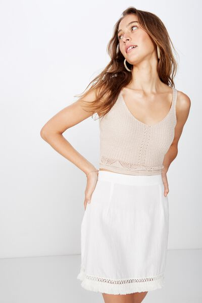 Woven Geri Tassel Mini Skirt, WHITE
