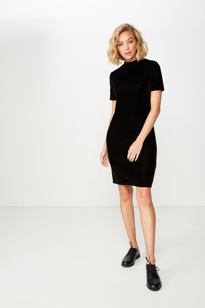 Anissa Short Sleeve Bodycon Midi Dress, BLACK VELVET