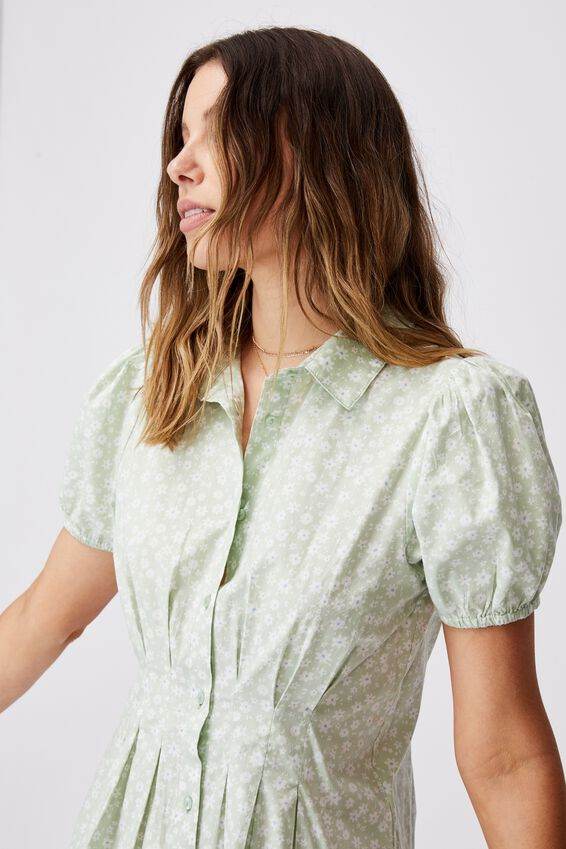 Woven Bambie Button Front Shirt Dress, SUSIE DITSY SPRING MINT