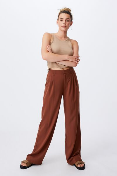 Jordan Oversized Pleat Pant, CHOCOLATE