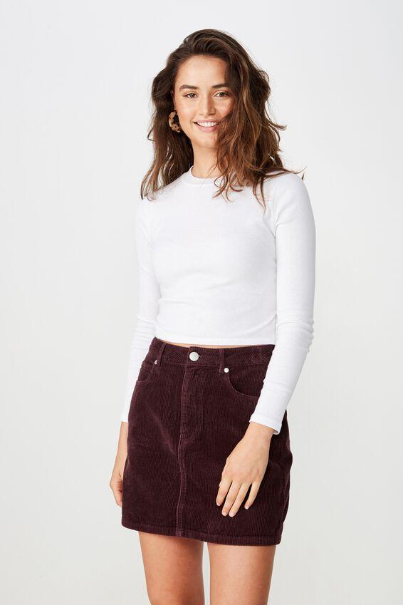 Woven Havana Cord Mini Skirt, FIG