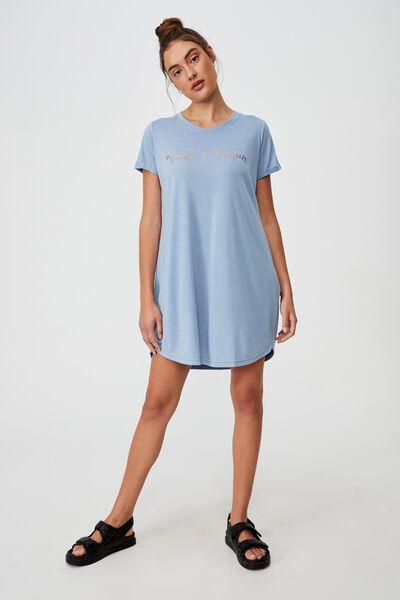 Personalised Tina Tshirt Dress, WAVE WASHED BLUE