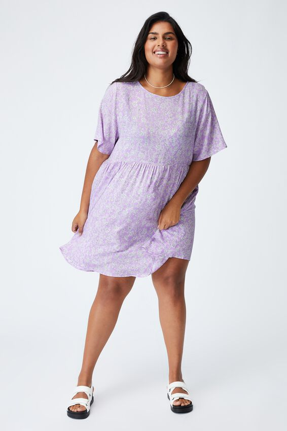 Curve Good Times Babydoll Mini Dress, SHARI FOLK FLORAL POWDER LILAC