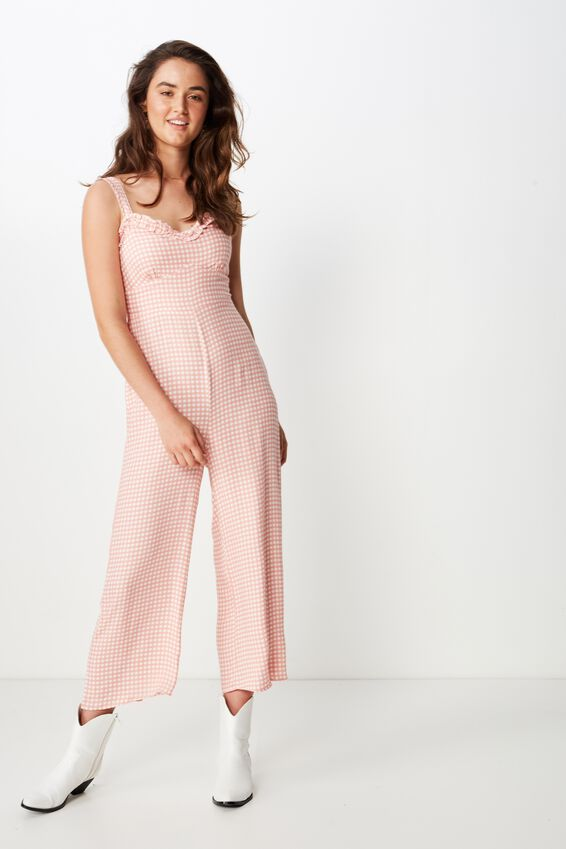Woven Tash Strappy Jumpsuit, ABBY GINGHAM ROSE TAN WHITE