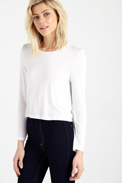 Madison Hip Grazer Long Sleeve Top, WHITE