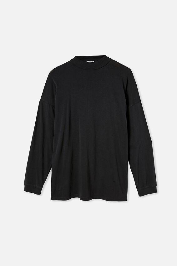 90S Longline Drop Shoulder Long Sleeve Top, WASHED BLACK