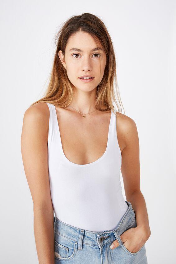 The Everyday Scoop Bodysuit, WHITE