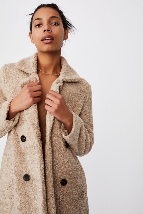 Teddy Mid Length Coat, NATURAL