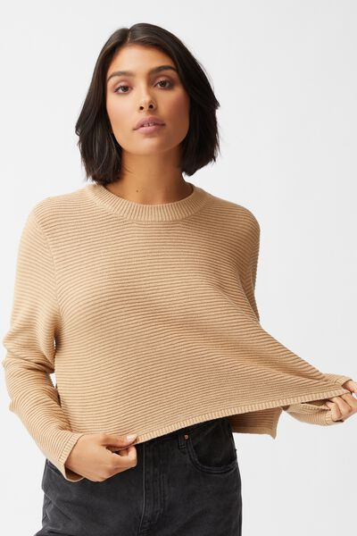Cotton Cropped Pullover, CARAMEL BROWN
