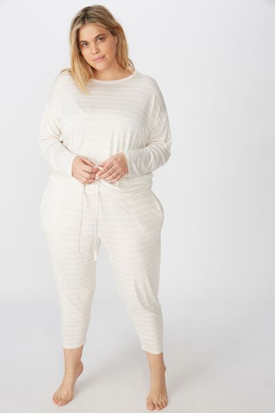 Curve Sleep Recovery Drop Crotch Pant, PORRIDGE STRIPE