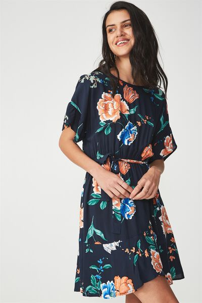 Woven Bray Short Sleeve Wrap Dress, PENNY FLORAL MOONLIGHT