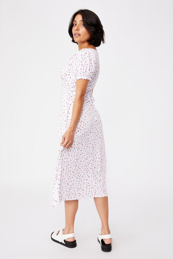 Elina Short Sleeve Midi Dress, BELLA DITSY WHITE