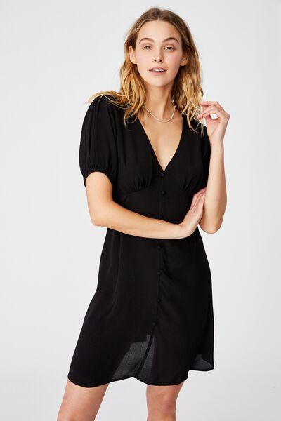 Woven Essential Button Front Mini Dress, BLACK